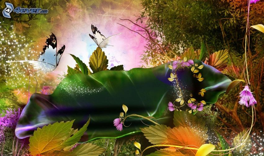 Motyle, rysunkowe, kwiaty