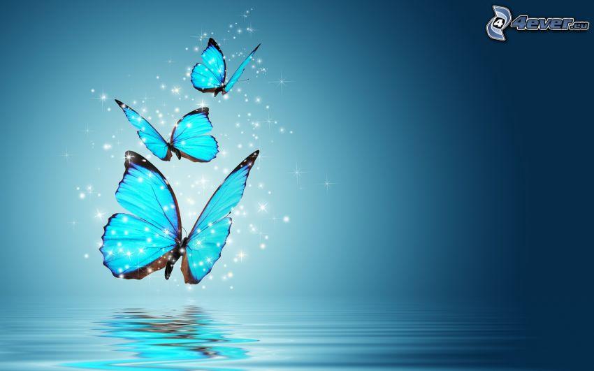 niebieskie motyle, woda, niebieskie tło