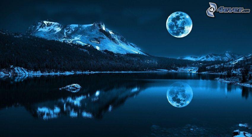 nocny krajobraz, jezioro, góry, odbicie, Księżyc