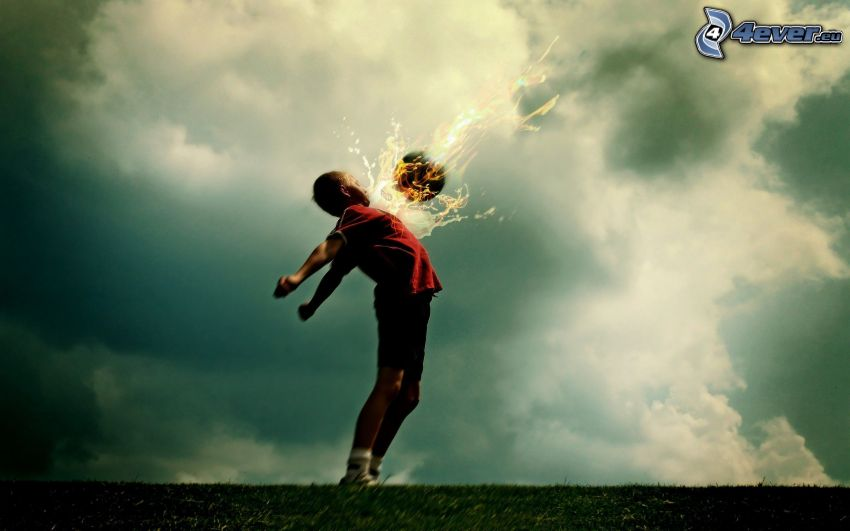 piłkarz, piłka, płomień