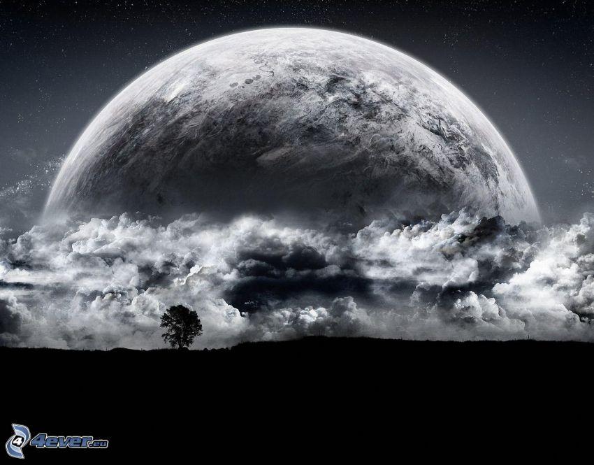 Planeta Ziemia, chmury, samotne drzewo, sylwetka drzewa, czarno-białe