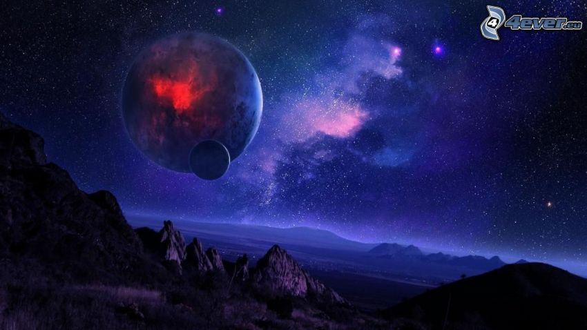 planety, gwiaździste niebo, noc