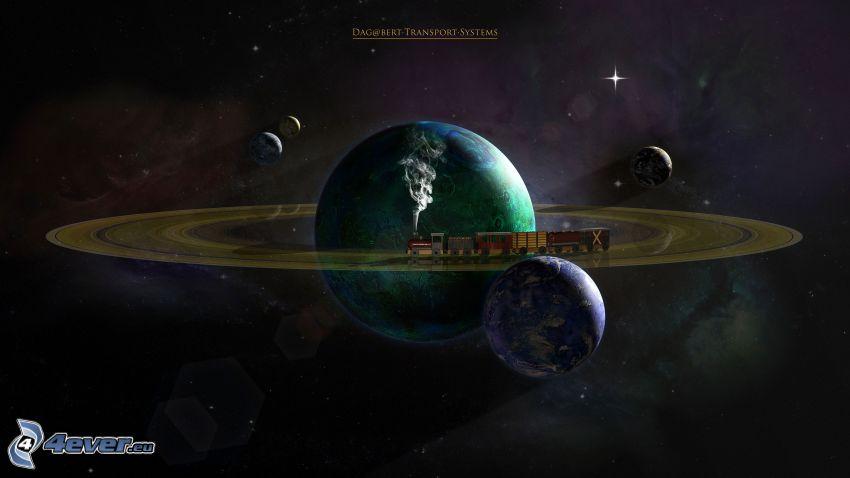 planety, Saturn, Planeta Ziemia, wszechświat, pociąg