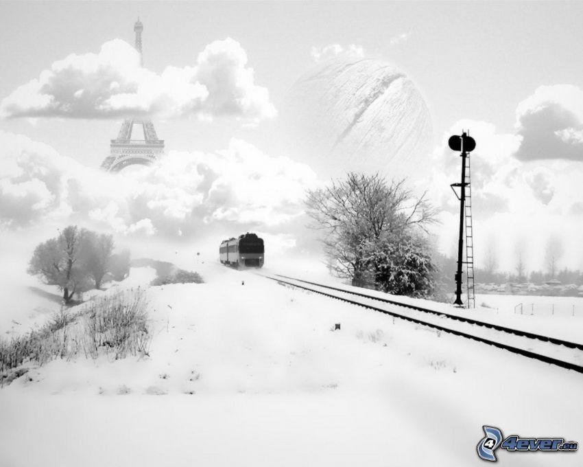 pociąg, śnieg, tory kolejowe, chmury, Wieża Eiffla