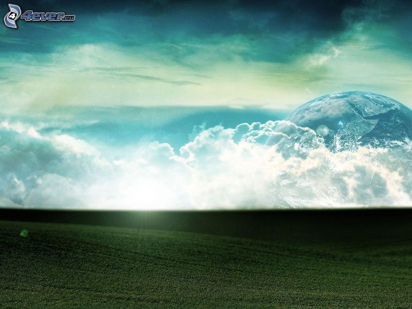pole, chmury, słońce, planeta
