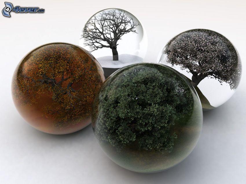 pory roku, szklane kulki, drzewa