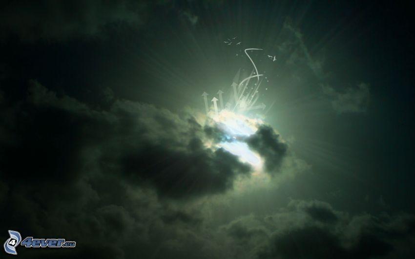 promienie słońca za chmurami, ciemne chmury, strzałki
