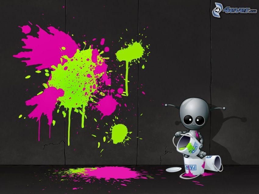 robot, kleksy
