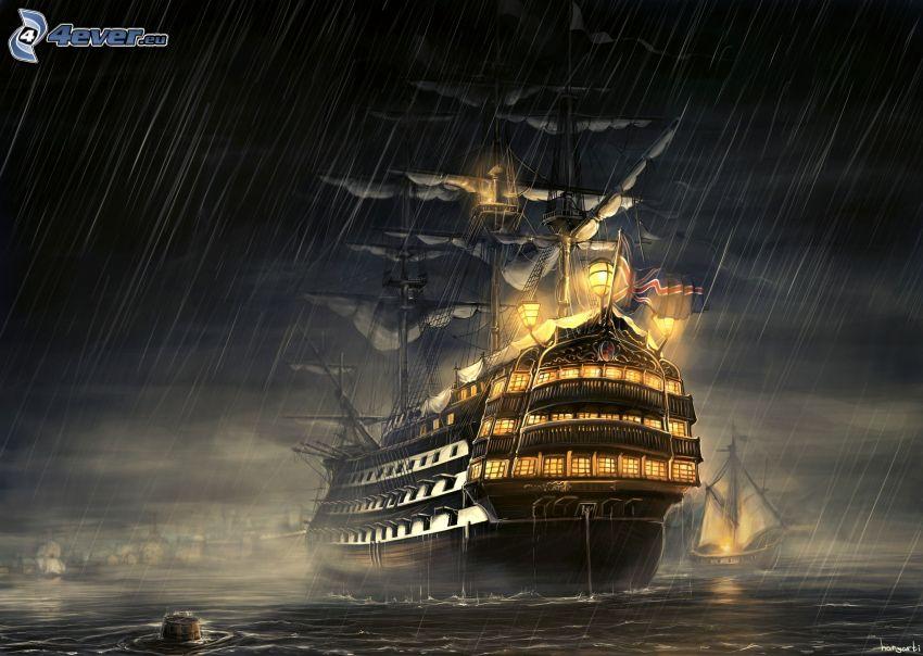 rysunkowa żaglówka, statek, morze, deszcz, noc, oświetlenie