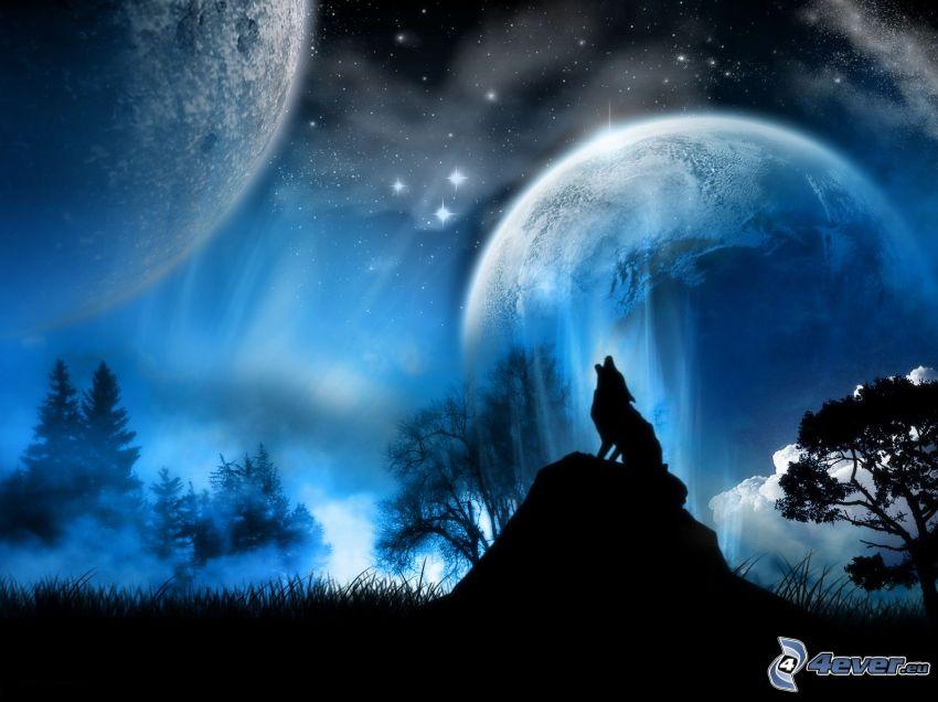 rysunkowy wyjący, wilk, dwa księżyce, noc, las, przyroda, gwiaździste niebo