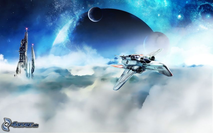 sci-fi, myśliwiec, ponad chmurami, planety