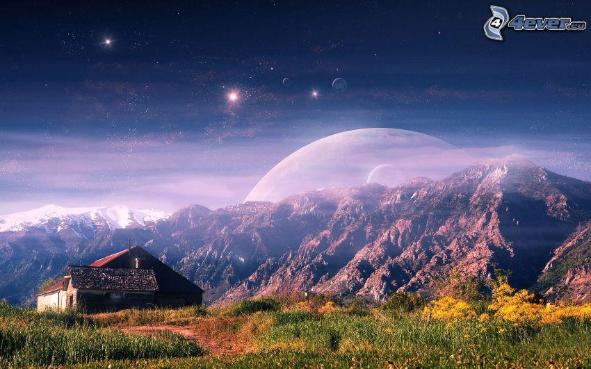 skaliste wzgórza, dom, planety, gwiazdy