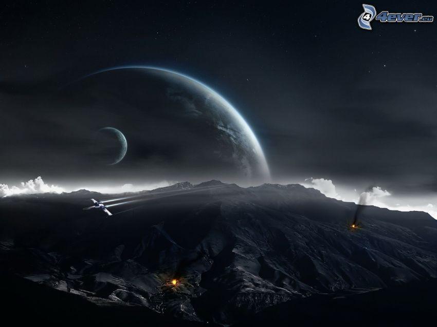 skaliste wzgórza, planety, noc