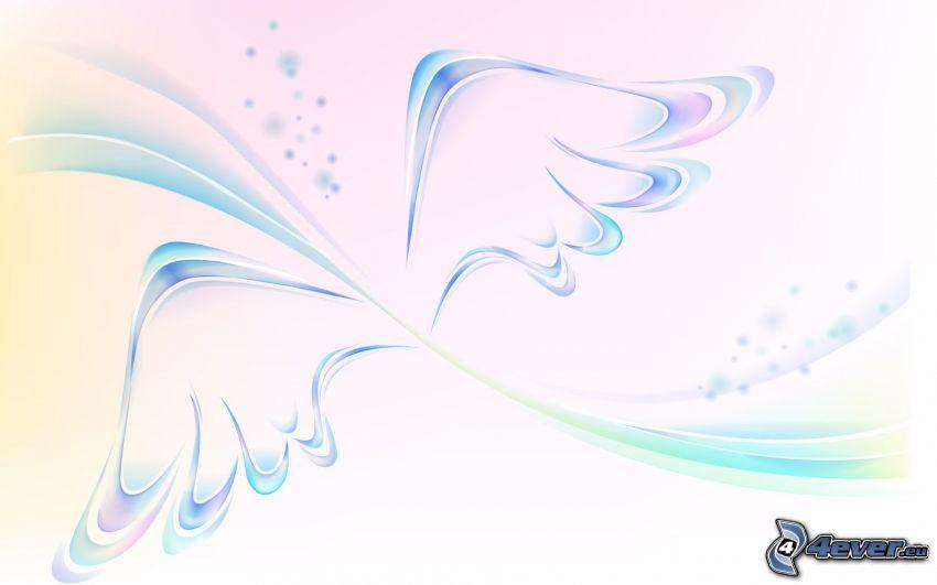 skrzydła, linie, białe tło