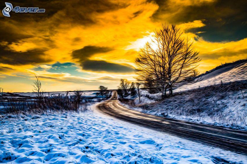 śnieżny krajobraz, ulica, pomarańczowe niebo, słońce za chmurami