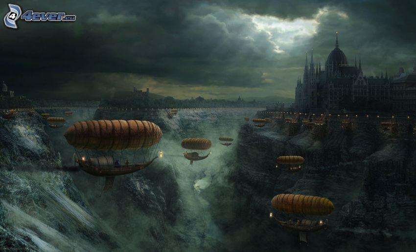 sterowce, rysunkowy krajobraz, zamek, skały, chmury burzowe, promienie słońca za chmurami