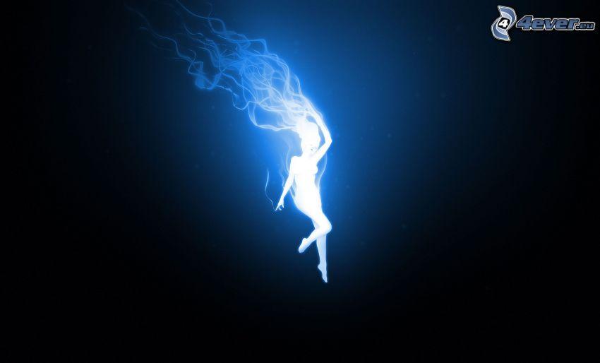 sylwetka kobiety, dym