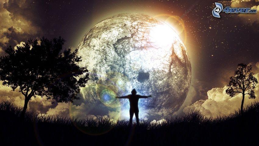 sylwetka mężczyzny, planeta, gwiazdy, drzewa, trawa