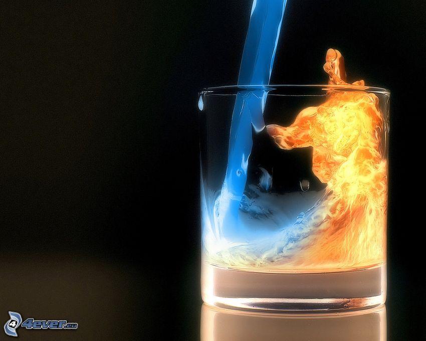 szklanka, ogień i woda