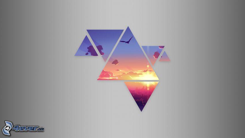 trójkąty, zachód słońca w mieście, niebo, ptak