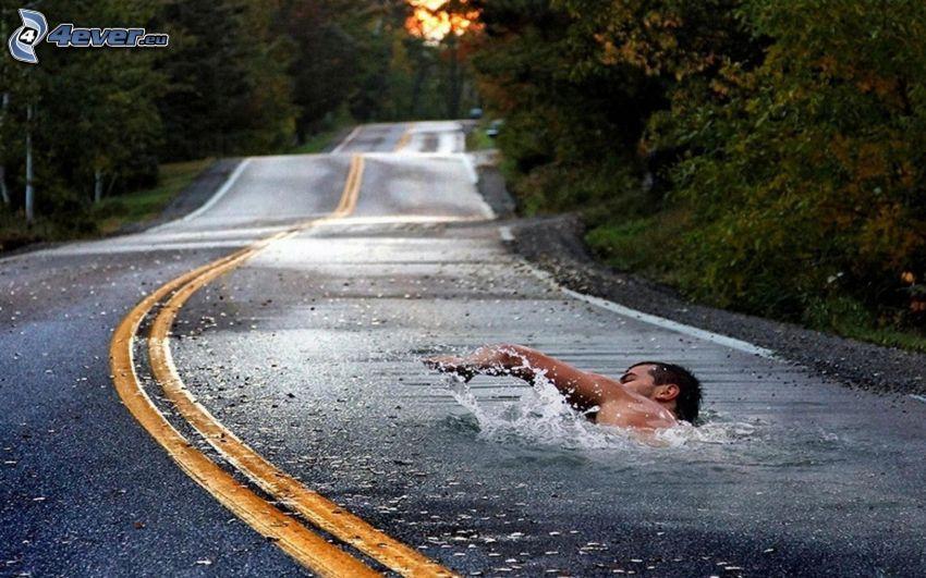 ulica, pływak, woda