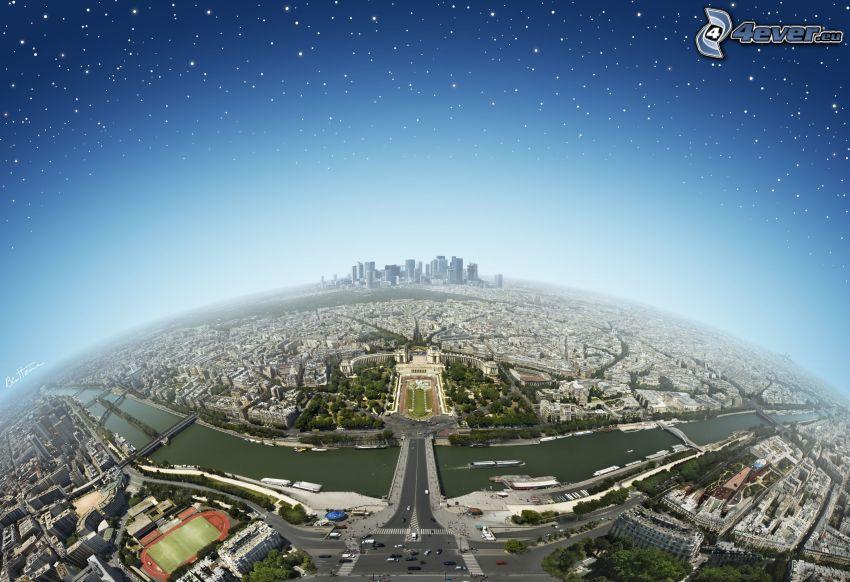 Wieża Eiffla, widok na miasto, La Défense, Paryż, Ziemia, gwiaździste niebo