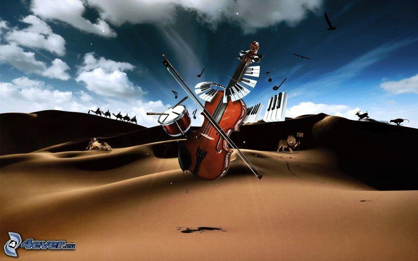 wiolonczela, bębny, fortepian, pustynia