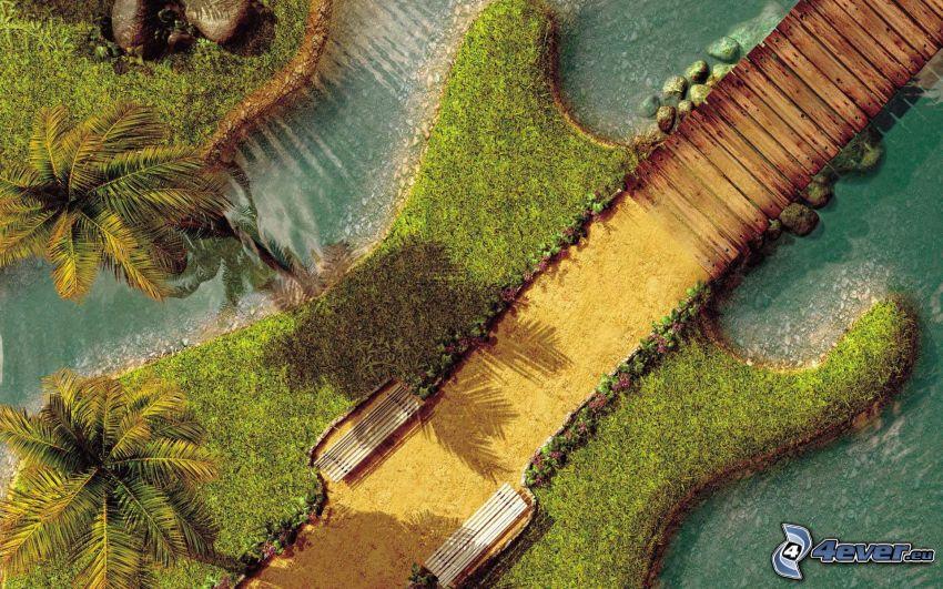 wyspa, elektryczna gitara, palmy, drewniane molo, trawa, ławki, woda