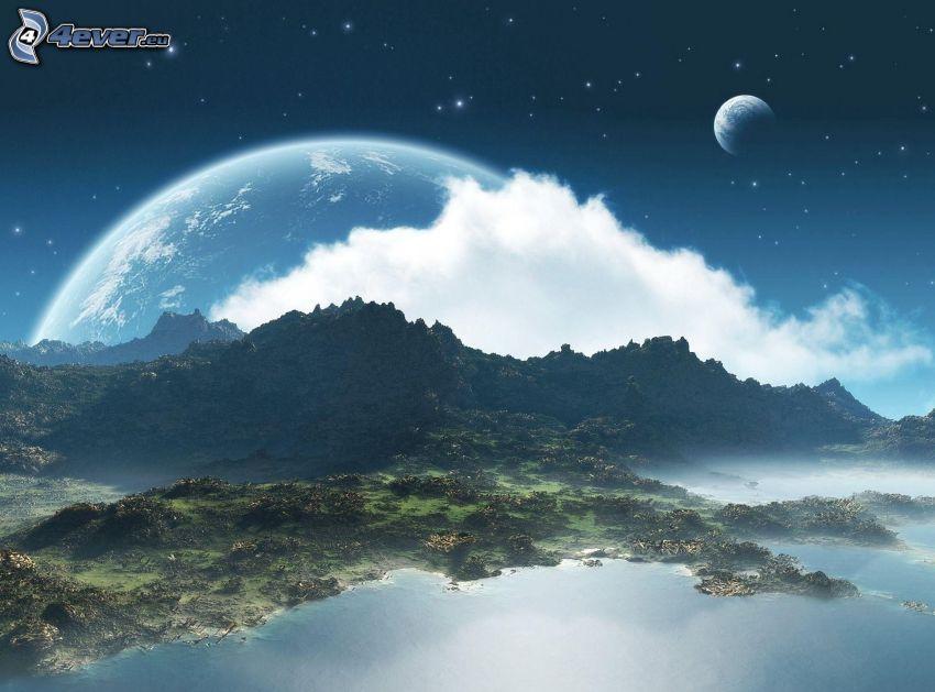 wzgórza, jezioro, planety, chmury, gwiaździste niebo