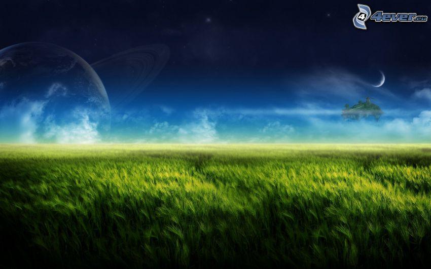 zielone zboże, planeta, księżyc, latająca wyspa