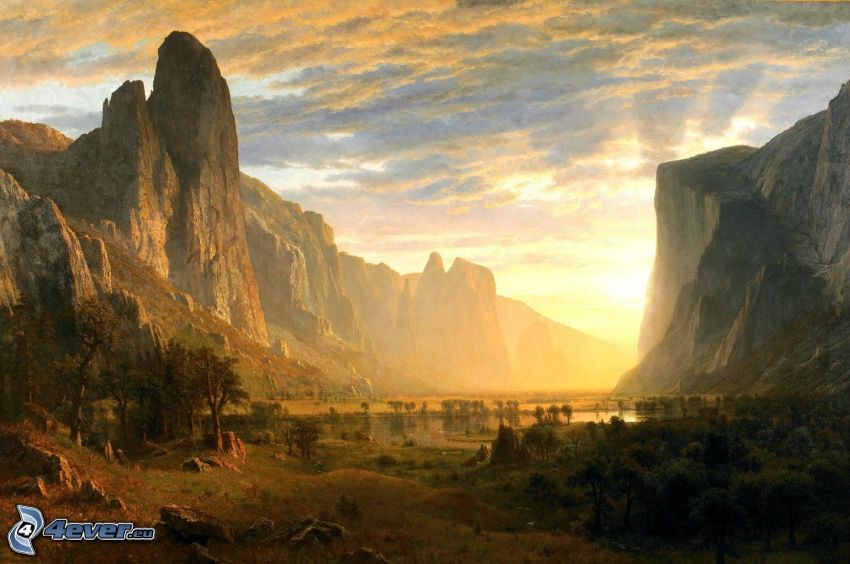 dolina, skały, zachód słońca
