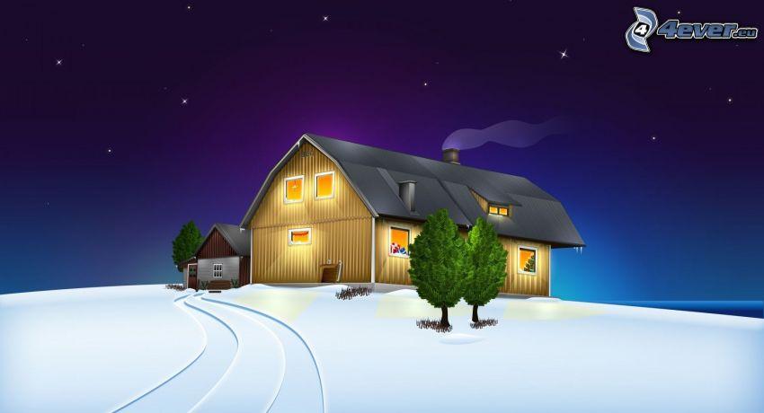 dom, drzewa, śnieg