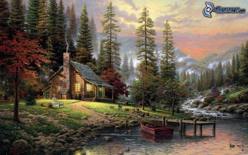 domek rysunkowy, rzeka, las, drzewa, obraz, malowidło