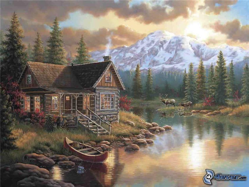 domek rysunkowy, zaśnieżona góra, rzeka, drzewa iglaste
