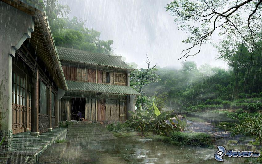 drewniany dom, deszcz