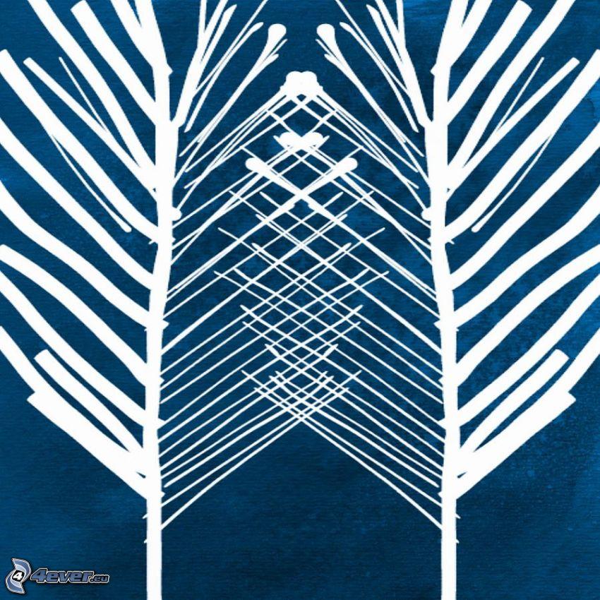 drzewa, niebieskie tło