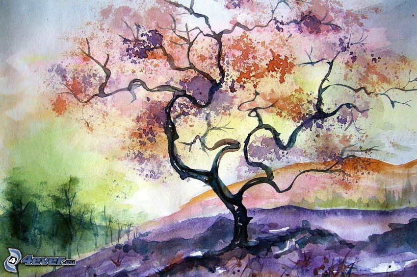 drzewo, rysunkowy krajobraz