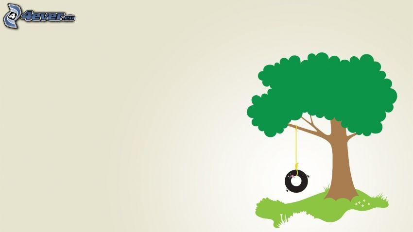 drzewo rysowane, huśtawka, opona