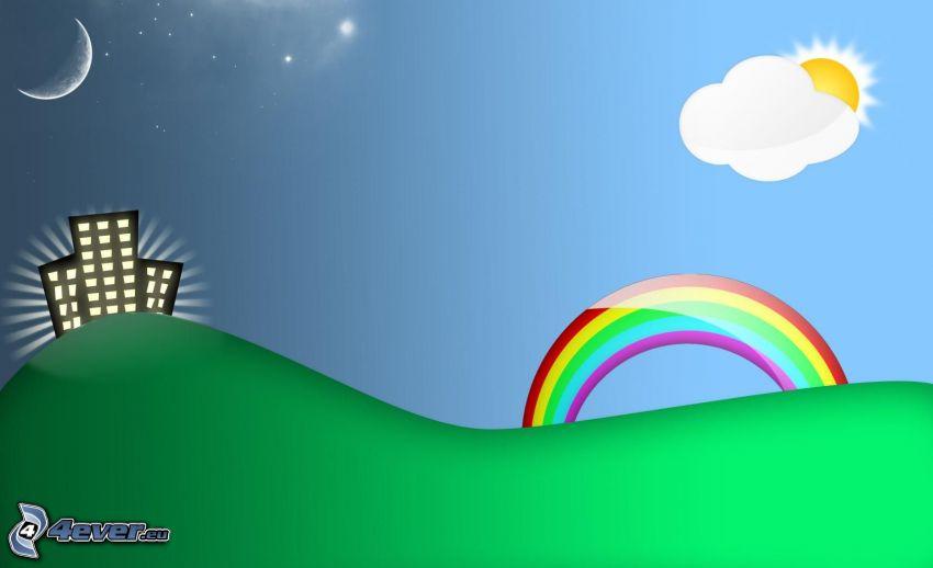 dzień i noc, blok mieszkalny, tęcza, księżyc, słońce za chmurami