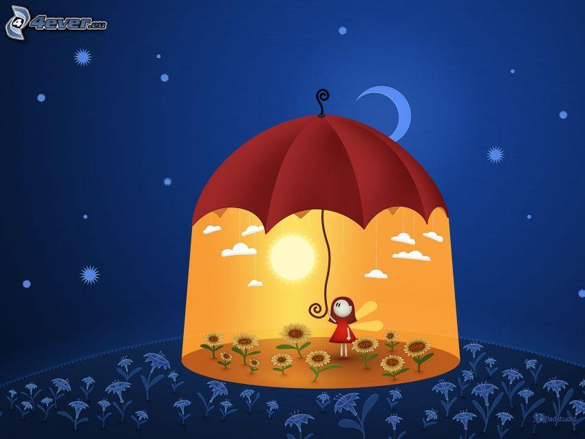 dzień i noc, dziewczyna z parasolem, słoneczniki