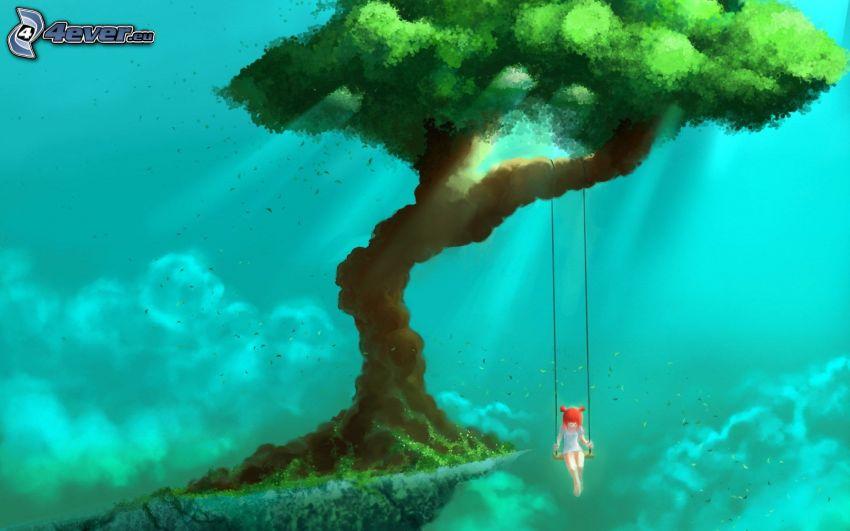 dziewczyna na huśtawce, drzewo, rysowana dziewczynka