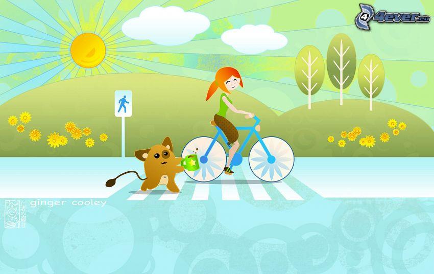 dziewczyna na rowerze, śmieszne zwierzątko, rysunkowe słońce, żółte kwiaty