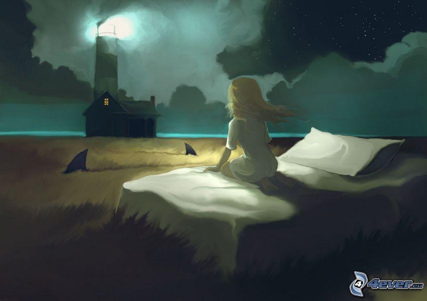 dziewczyna w ciemności, łóżko, rysunkowa latarnia, latarnia morska w mgle