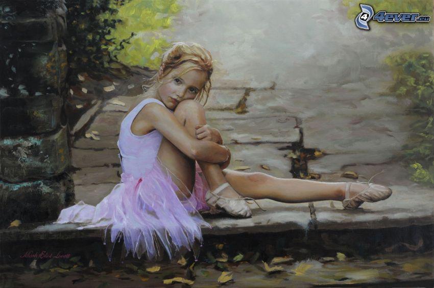 dziewczynka, baletnica, różowa sukienka, smutek