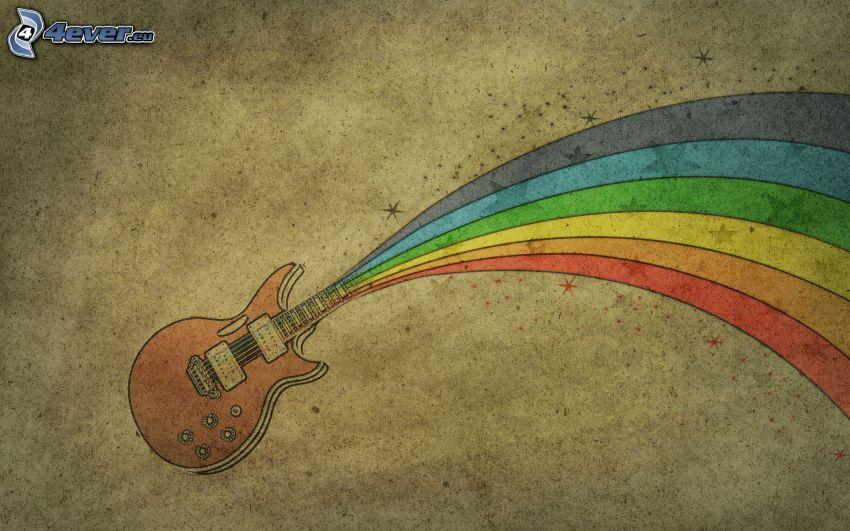 elektryczna gitara, kolorowa tęcza