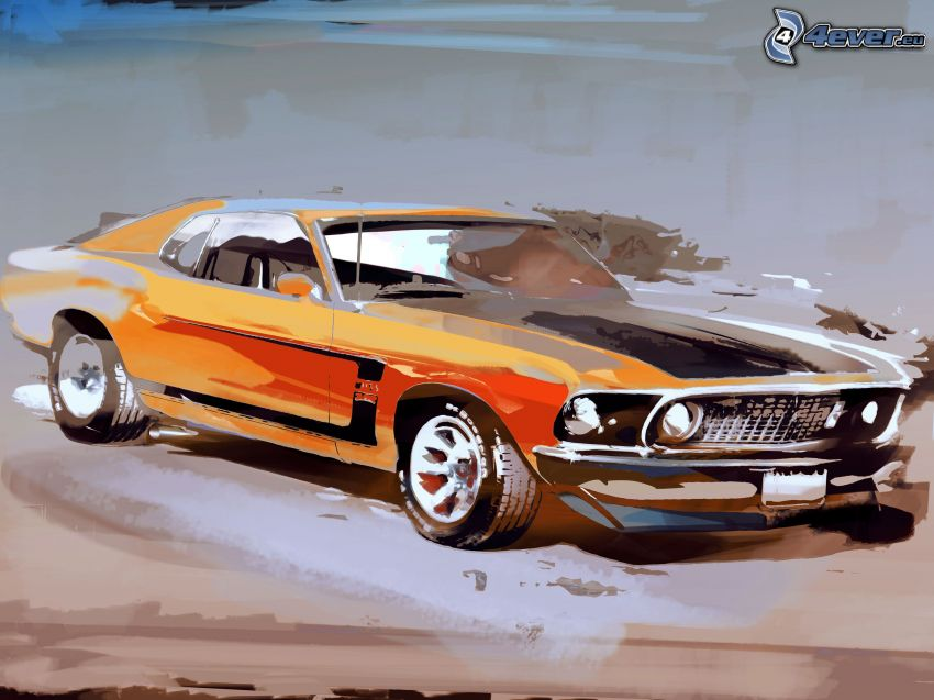 Ford Mustang, rysowany samochód