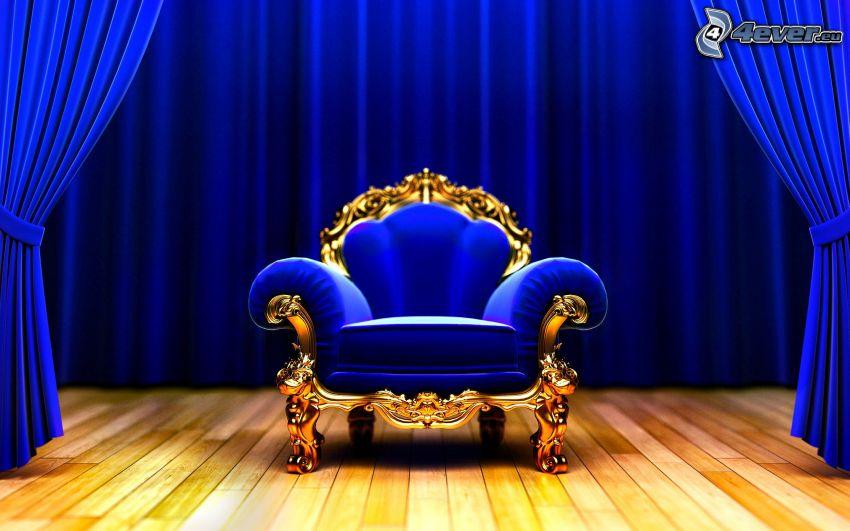 fotel, niebieski, kurtyna