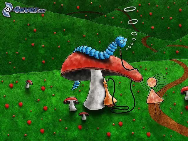 gąsienica, grzyb, figurka, fajka