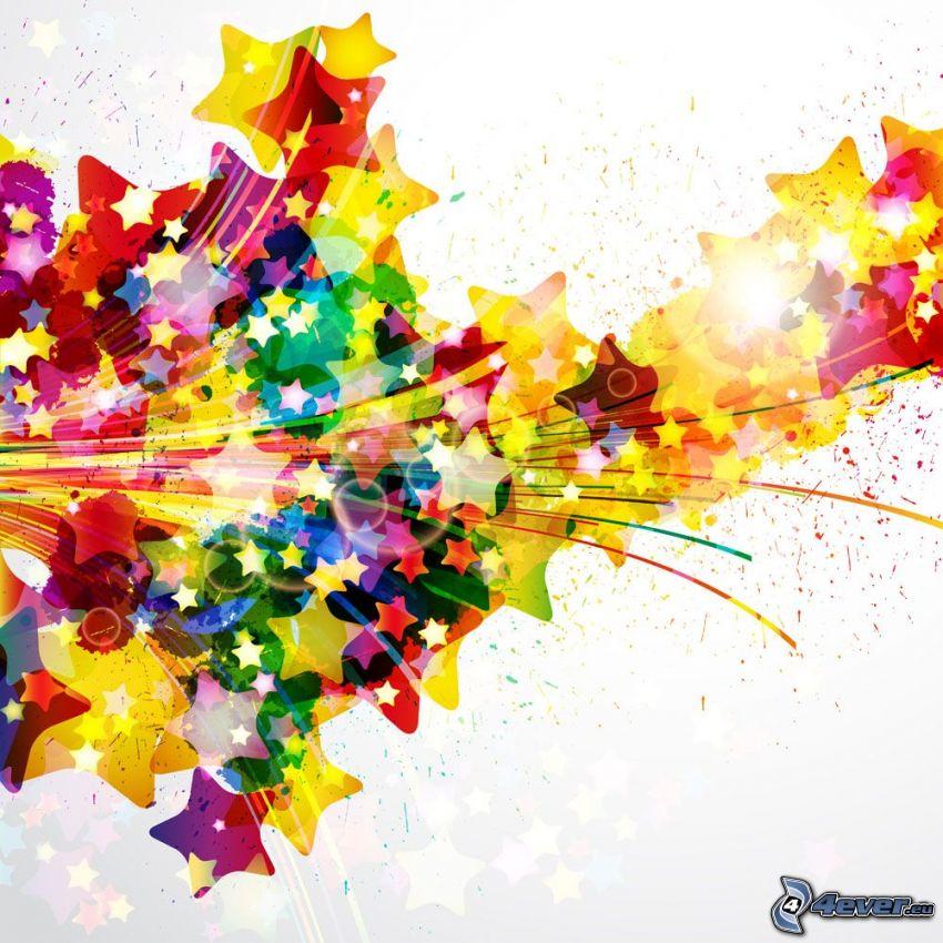 gwiazdy, kolorowe