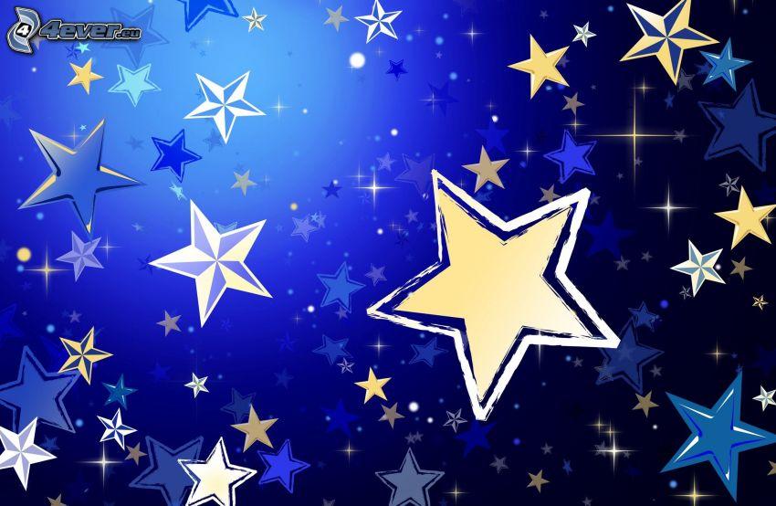 gwiazdy, niebieskie tło